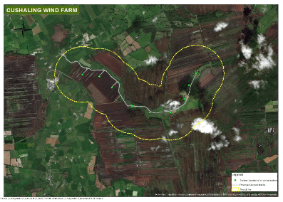 Map of proposed wind farm at Cushaling